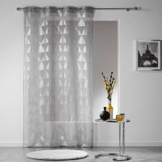 Frosty Geometric Eyelet Voile Curtain Panel - Silver Grey