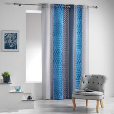 Galliance Striped Unlined Eyelet Curtain Panel - Blue