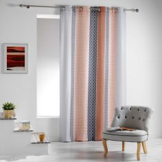 Galliance Striped Unlined Eyelet Curtain Panel - Copper
