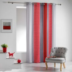 Galliance Striped Unlined Eyelet Curtain Panel - Red