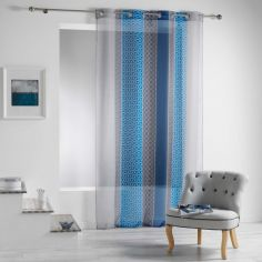 Galliance Geometric Eyelet Voile Curtain Panel - Blue