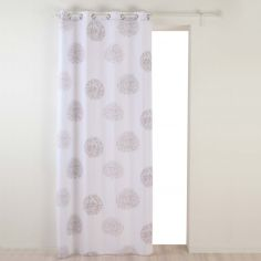 Galya Dandelion Print Unlined Eyelet Curtain Panel - White