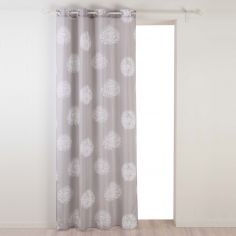 Galya Dandelion Print Unlined Eyelet Curtain Panel - Taupe