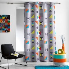 Geomix Double-sided Unlined Eyelet Curtain Panel - Grey Multi