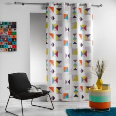 Geomix Double-sided Unlined Eyelet Curtain Panel - White Multi