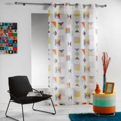 Geomix Eyelet Voile Curtain Panel - White Multi