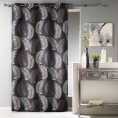 Goyave Floral Leaf Unlined Eyelet Curtain Panel - Black