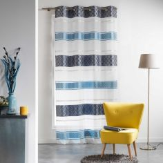 Organza Jacquard Eyelet Voile Curtain Panel - Blue