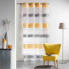 Organza Jacquard Eyelet Voile Curtain Panel - Yellow