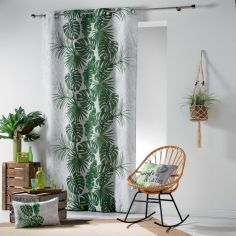 Jungle Cactus Unlined Eyelet Curtain Panel - Green