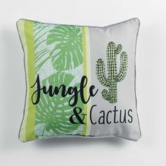 Jungle Cactus Filled Cushion with Piping - Green
