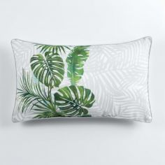 Jungle Cactus Filled Boudoir Cushion with Piping - Green