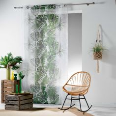 Jungle Cactus Eyelet Voile Curtain Panel - Green