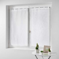 Haltona Linen Straight Voile Blind Pair with Tab Top - White