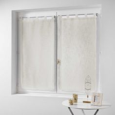 Haltona Linen Straight Voile Blind Pair with Tab Top - Ivory Cream