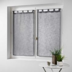 Haltona Linen Straight Voile Blind Pair with Tab Top - Grey