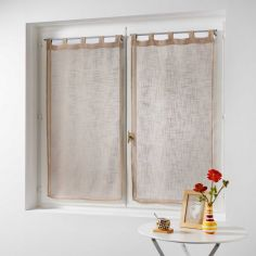 Haltona Linen Straight Voile Blind Pair with Tab Top - Hazelnut Natural