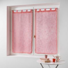 Haltona Linen Straight Voile Blind Pair with Tab Top - Coral Pink