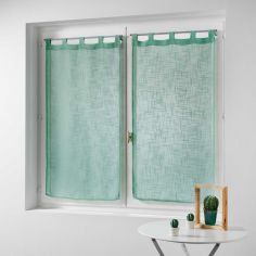 Haltona Linen Straight Voile Blind Pair with Tab Top - Mint Green