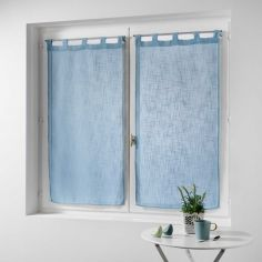 Haltona Linen Straight Voile Blind Pair with Tab Top - Sky Blue