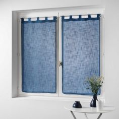 Haltona Linen Straight Voile Blind Pair with Tab Top - Deep Blue