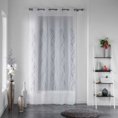 Helena Embroidered Swirls Eyelet Voile Curtain Panel - White