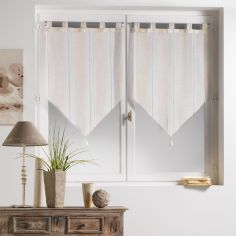 Helios Stripe Voile Blind Pair with Tab Top and Tassels - Natural Cream