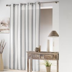 Helios Stripe Eyelet Voile Curtain Panel - Grey