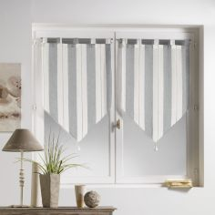 Helios Stripe Voile Blind Pair with Tab Top and Tassels - Grey