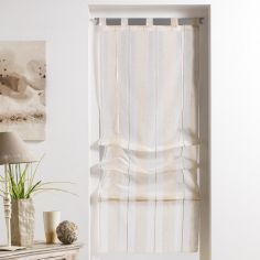 Helios Stripe Straight Blind with Tab Top - Natural Cream