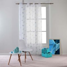 Hesperia Butterfly Eyelet Voile Curtain Panel - Blue & Green