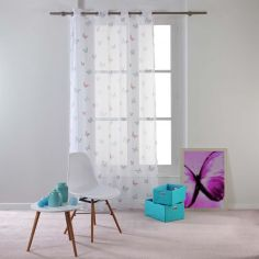 Hesperia Butterfly Eyelet Voile Curtain Panel - Pastel Pink & Grey