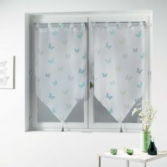 Hesperia Butterfly Tasselled Voile Blind Pair with Tab Top - Blue & Grey