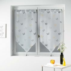 Hesperia Butterfly Tasselled Voile Blind Pair with Tab Top - Black & Yellow