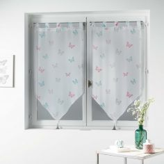 Hesperia Butterfly Tasselled Voile Blind Pair with Tab Top - Pastel Pink & Grey