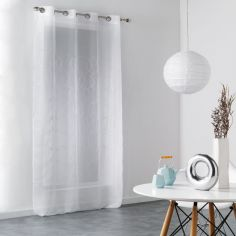 Honey Embroidered Circles Eyelet Voile Curtain Panel - White