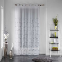 Honeys Silver Yarn Embroidered Eyelet Voile Curtain Panel - White