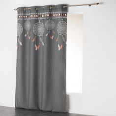 Indila Dream Catcher Unlined Eyelet Curtain Panel - Charcoal Grey with Orange Top