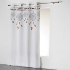 Indila Dream Catcher Unlined Eyelet Curtain Panel - White with Orange Top