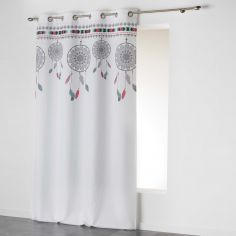 Indila Dream Catcher Unlined Eyelet Curtain Panel - White with Mint Blue & Coral Top