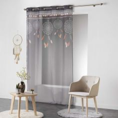 Indila Dream Catcher Eyelet Voile Curtain Panel - Charcoal Grey with Orange Top