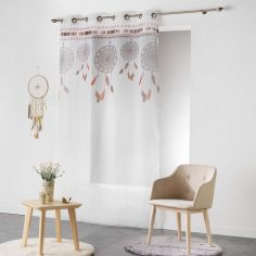 Indila Dream Catcher Eyelet Voile Curtain Panel - White with Orange Top