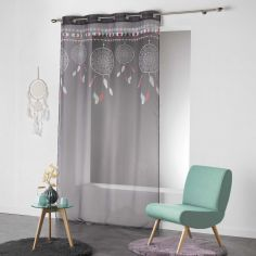 Indila Dream Catcher Eyelet Voile Curtain Panel - Charcoal Grey with Mint Blue & Coral Top