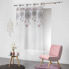 Indila Dream Catcher Eyelet Voile Curtain Panel - White with Mint Blue & Coral Top