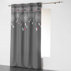 Indila Dream Catcher Unlined Eyelet Curtain Panel - Charcoal Grey with Mint Blue & Coral Top