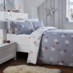 Christmas Snowflake Flannelette 100% Brushed Cotton Duvet Cover Set - Red
