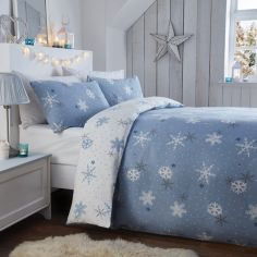 Christmas Snowflake Flannelette 100% Brushed Cotton Duvet Cover Set - Blue