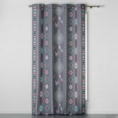 Indila Geometric Unlined Eyelet Curtain Panel - Charcoal Grey, Mint Blue & Coral