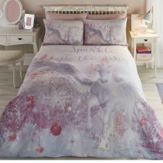 Sparkle Unicorn Kids Duvet Cover Set - Pink
