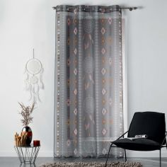 Indila Geometric Eyelet Voile Curtain Panel - Charcoal Grey & Natural